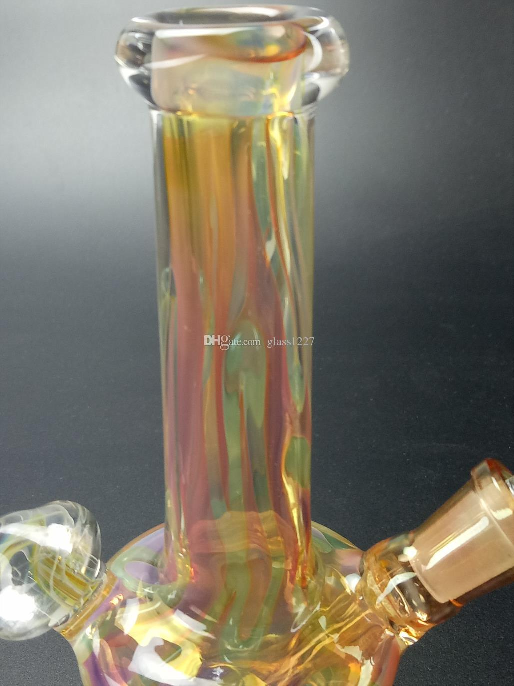 Low price high quality glass water pipe yellow bottle filter glass sound recycle station