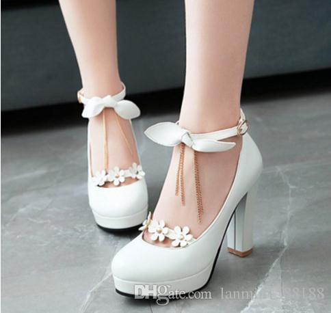 Free send Hot Spring new style high heeled women's shoes bowknot Coarse heel Shallow mouth Single shoes Korean princess shoes.