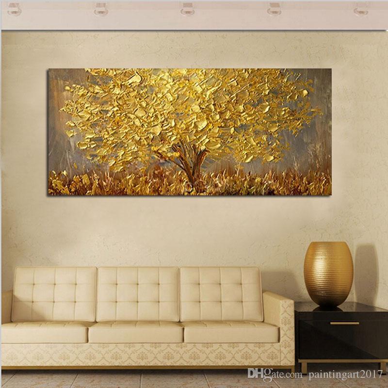 큰 손으로 그린 나이프 나무 캔버스 팔레트 유화 황금 노란색 그림 현대 추상 벽 아트 그림 홈 장식 선물