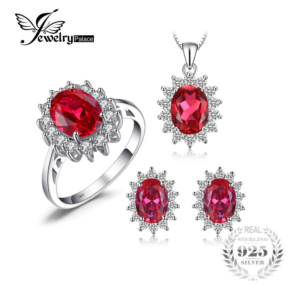 JewelryPalace Princess Diana Jewelry Engagement Wedding Pigeon Created Ruby Jewelry 925 Sterling Silver Ring Pendant Earring S18101508
