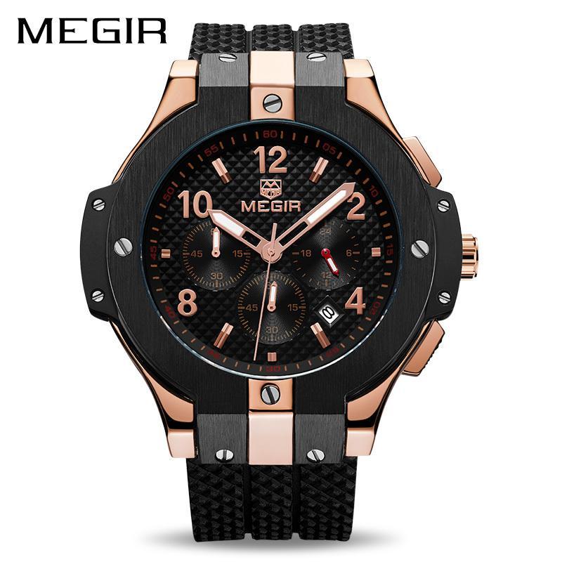 73481ee152e Compre MEGIR Cronógrafo Relógio Do Esporte Dos Homens Criativo Grande  Mostrador Do Exército Militar Relógios De Quartzo Homens Relógio Relógio De  Pulso Hora ...