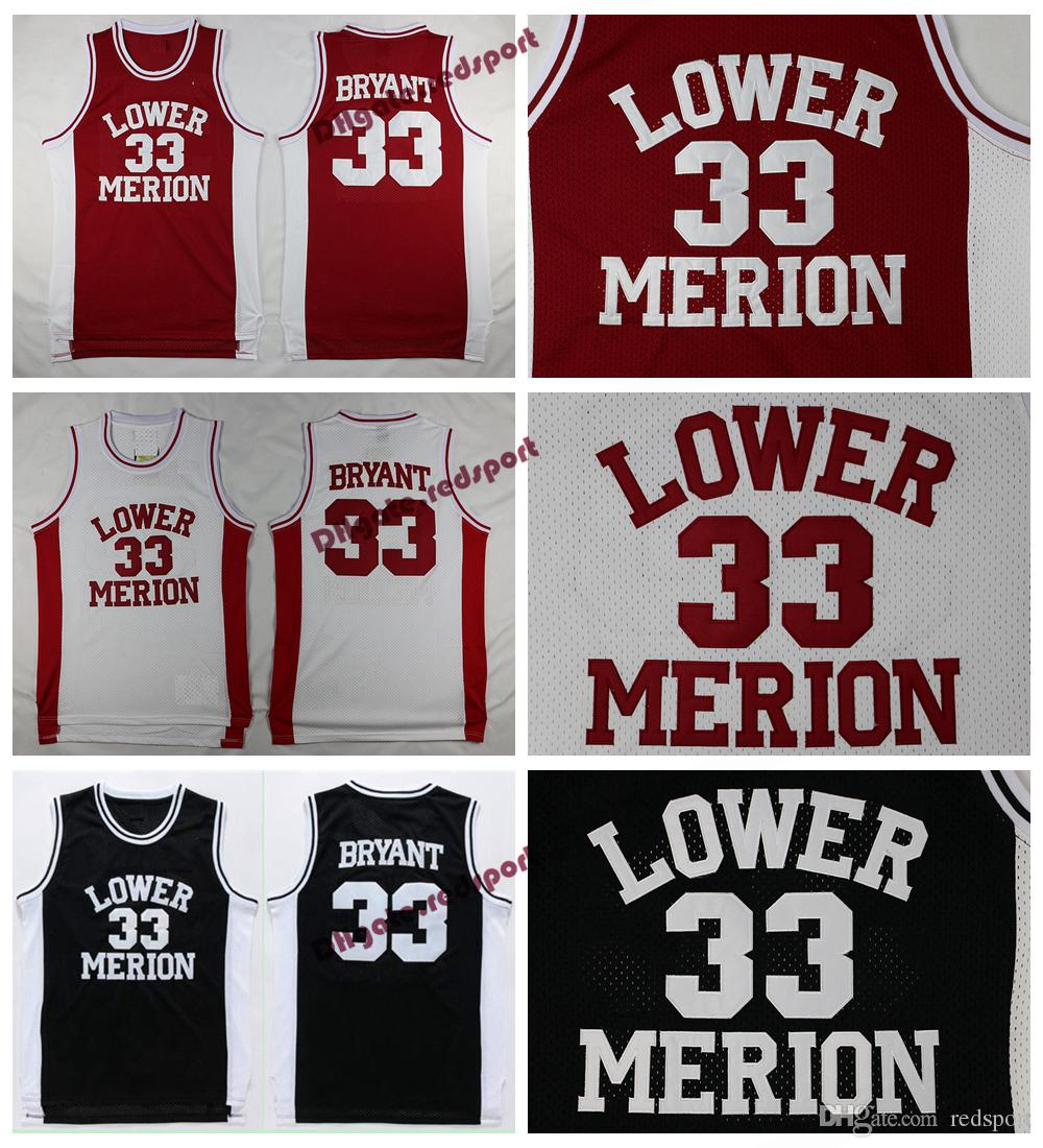 0643f2d60bcd 2019 Mens Lower Merion Kobe Bryant High School Jerseys Basketball Shirts  Cheap  33 Kobe Bryant Stitched Basketball Shirts College Black Red S XXL  From ...