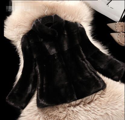 2016 nouvel hiver coréen court paragraphe trois manches manches col montant manteau de fourrure femme doux noir bleu rose blanc couleur top