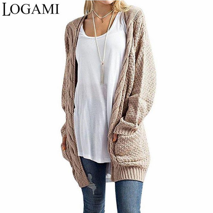 fb51eece6c27 2019 LOGAMI Long Cardigan Women Long Sleeve Knitted Sweater ...