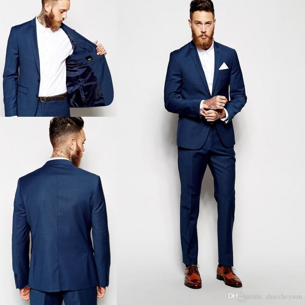 Compre 2018 Nuevos Trajes Azul Marino Para Hombres Padrinos De Boda Slim  Fit Trajes Mejor Traje De Hombre Boda   Trajes De Hombre Novio Novio  Chaqueta + ... c478e31d0e5