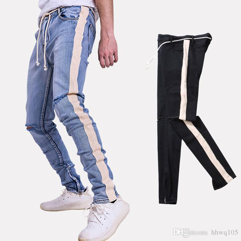 30b16f8bdde 2019 Men S Side Stripe Skinny Jeans Destroyed Distressed Ankle Zipper Slim  Fit Biker Jeans Black Blue Denim Pants Hip Hop BFSH0801 From Hhwq105