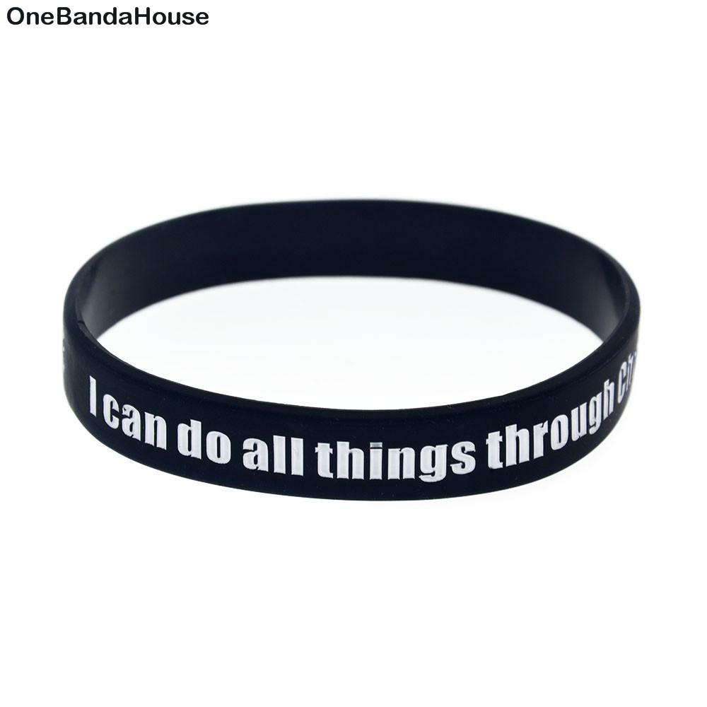 2019 Wholesale Silicone Wristband Wite Saying: I Can Do All Things Through  Christ Who Strengthens Me From Vickylzq, $31.48 | DHgate.Com