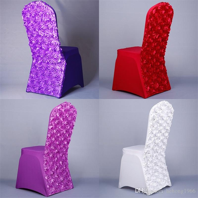 Seat Cover Chair Rose Flower Elastic Force Spandex Festival Wedding Hotel Banquet Restaurant Multi Colour Factory Direct 14dy V