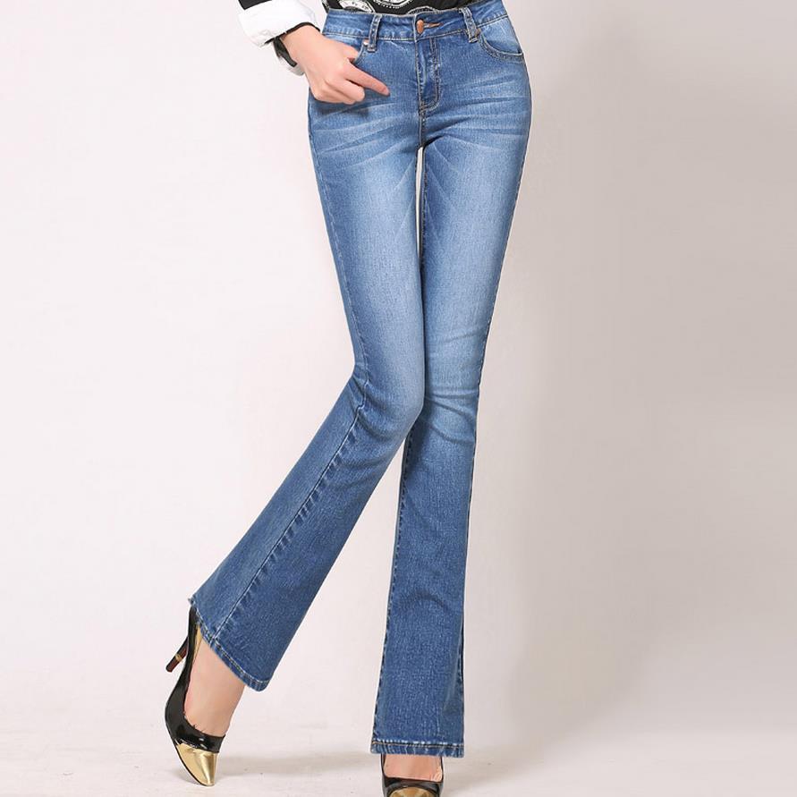 f429cf67d0 Compre Pantalones Vaqueros Flare De Cintura Alta Más Tamaño Pantalones  Vaqueros Flacos Stretch Mujer Botines De Mezclilla Ancha Pierna Corta 4Xl A   30.15 ...