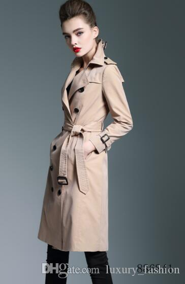 HOT CLASSIC! 여성 패션 잉글랜드 플러스 긴 트렌치 코트 / 브리지어 브랜드 디자이너 더블 브리 슬 슬림 벨트 트림 여성 B6841F340 S-XXL