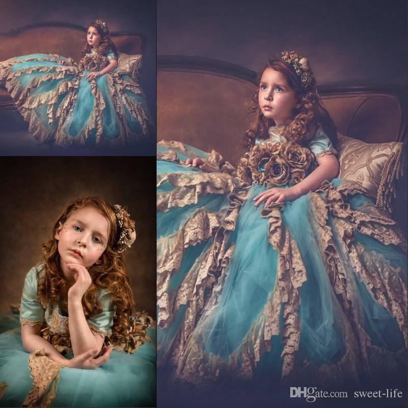 2018 Graceful Vintage Girls Flower Girl Dresses Jewel Beads Lace Applique  Short Sleeves Lovely Princess Toddler Birthday Girls Pageant Dress Girls  Latest ...