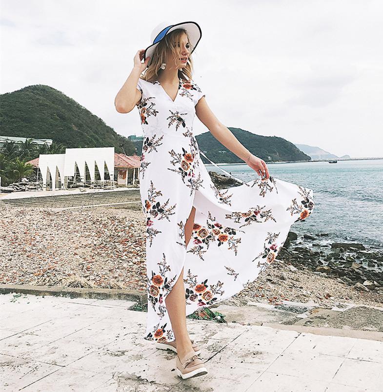 b1776ce99 Compre Mujeres Bohemia Con Cuello En V Manga Tres Cuartos Estampado Floral  Étnico Otoño Beach Boho Vestido Largo Retro Hippie Vestidos Boho Dress Q01  A ...