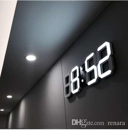Acheter 3D LED Horloge Murale Moderne Alarmes Horloges Affichage ...