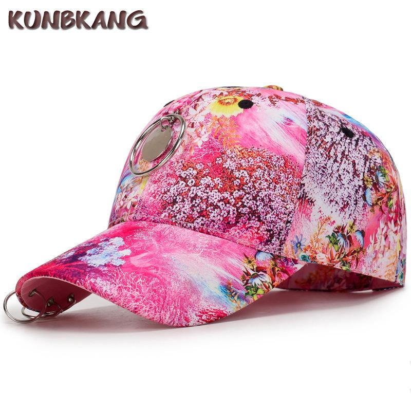 4b6eda4517f Women Flower Baseball Cap With Rings Floral Print Snapback Hat Casquette  Girls Female Summer Round Hip Hop Snapback Cap Gorras Fitted Cap Baseball  Caps For ...