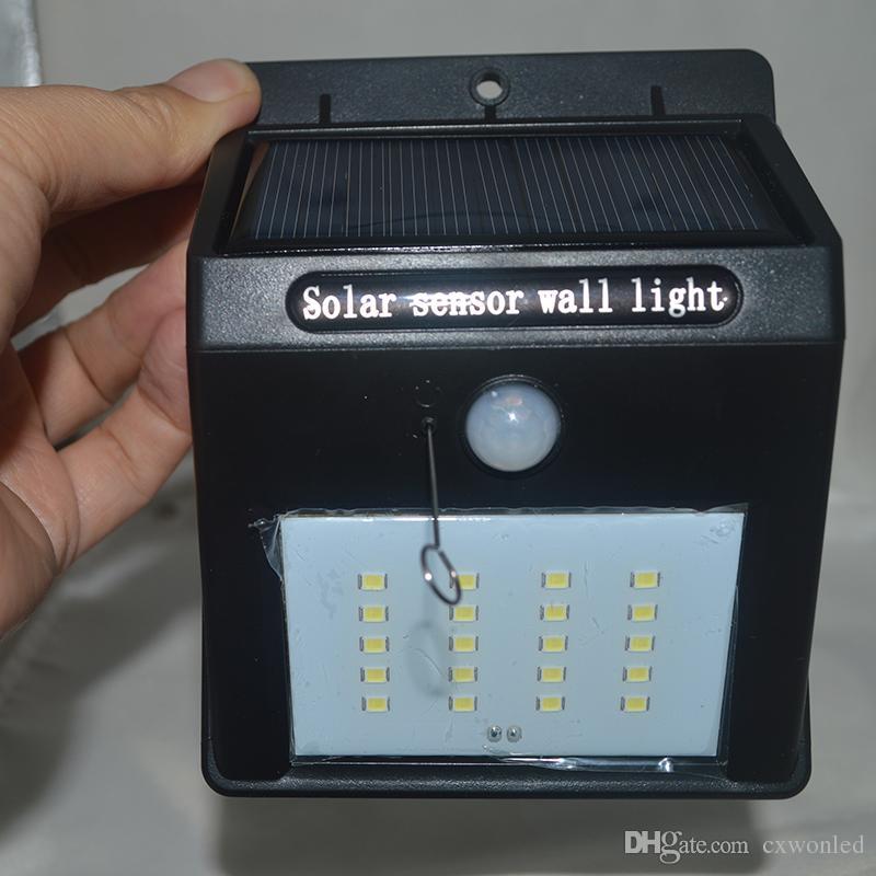 Capteur intelligent et énergie solaire 20 LED Applique murale Capteur de mouvement PIR Lampe de sécurité extérieure Lampe de jardin de jardin étanche