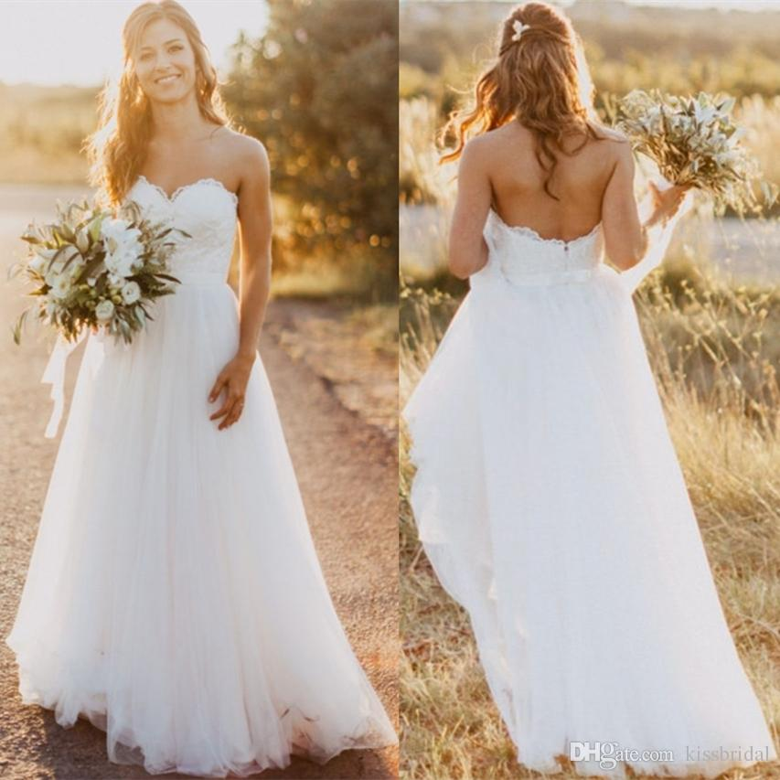 616e9a2e3f Discount 2018 Cheap Wedding Dresses Robe De Mariee A Line Strapless Lace  Tulle Bridal Formal Gowns Maternity Pregnant Boho Dress In White Ivory  Color ...