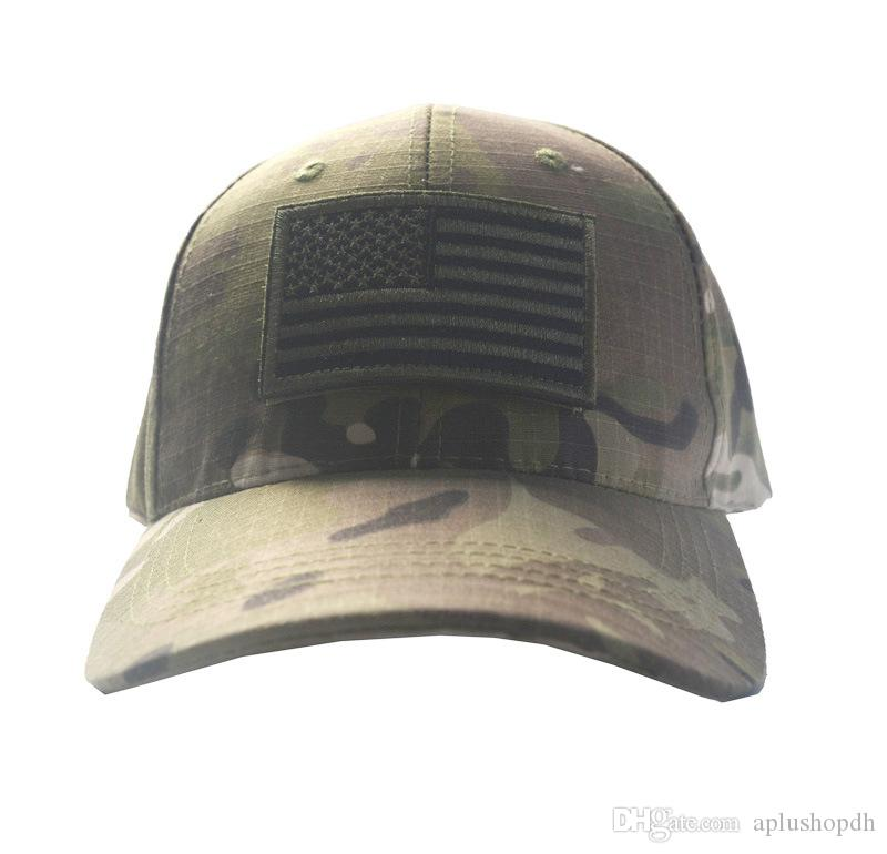 Army Camouflage Tactical Cap Bundle with USA Flag Patch Mens Baseball Cap  Outdoor Hunting Fishing Hat