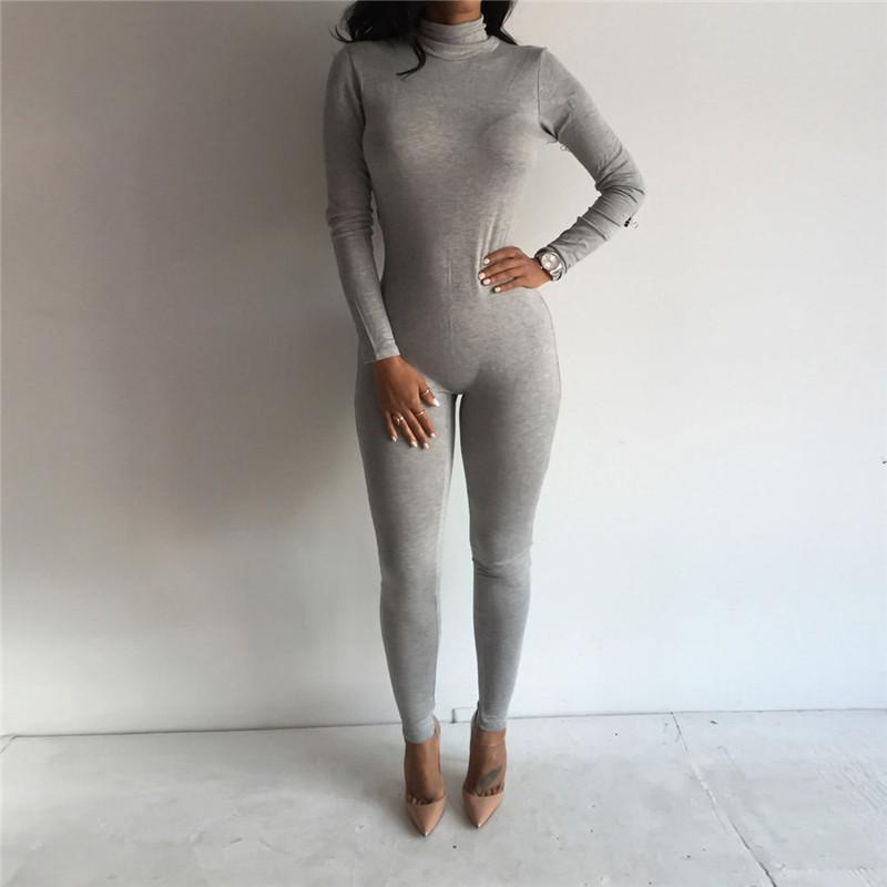 e2e4f3b4bbb3 Women High Neck Winter Jumpsuit Solid Color Casual Long Sleeve ...