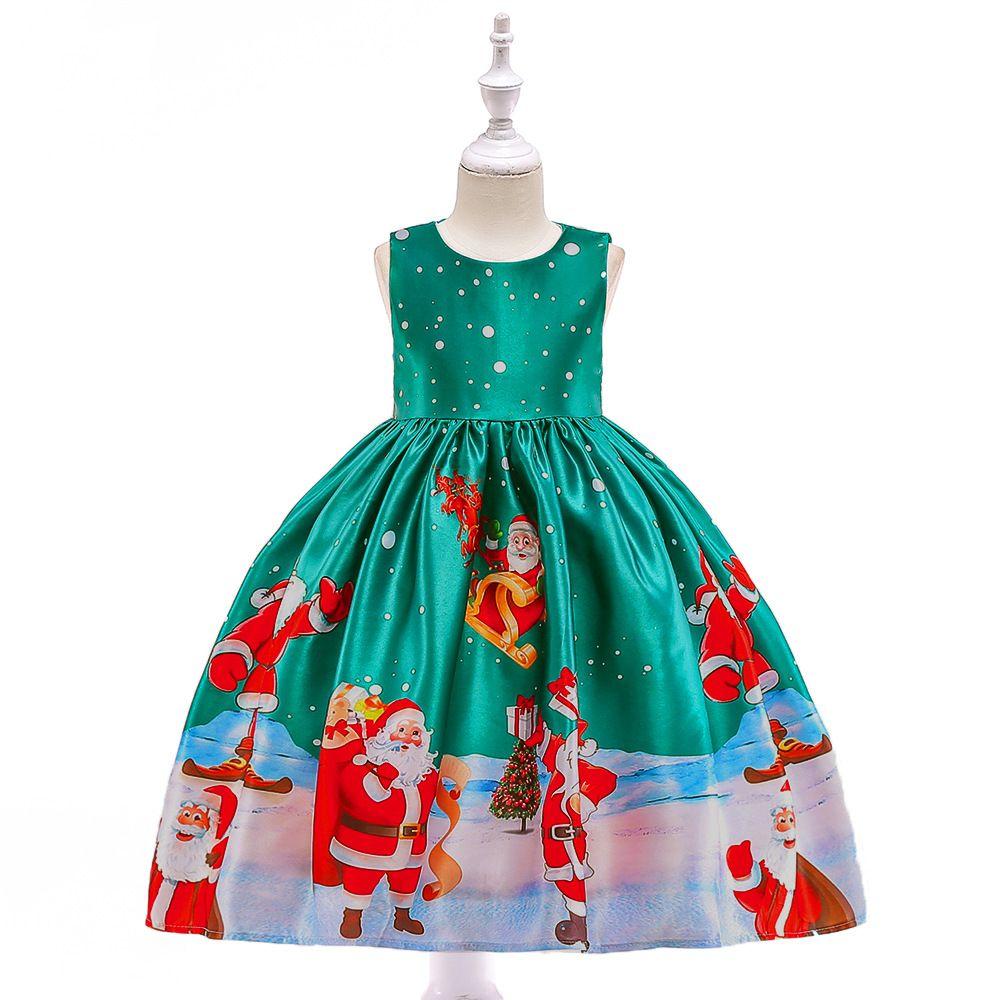 9c43dfc61 Compre Papá Noel Imprimió El Vestido De Navidad Para Niña Vestidos ...