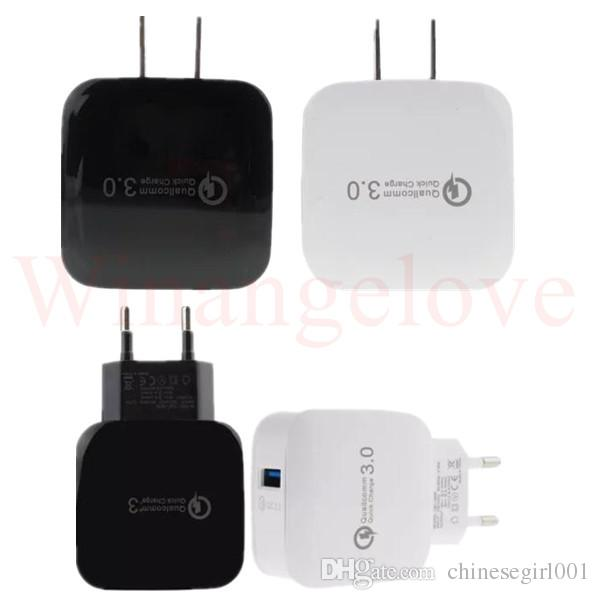 Caricatore da muro CA CA USB ricarica plug-in QC 3.0 EU US Plug iPhone 7 7 Plus Samsung s8