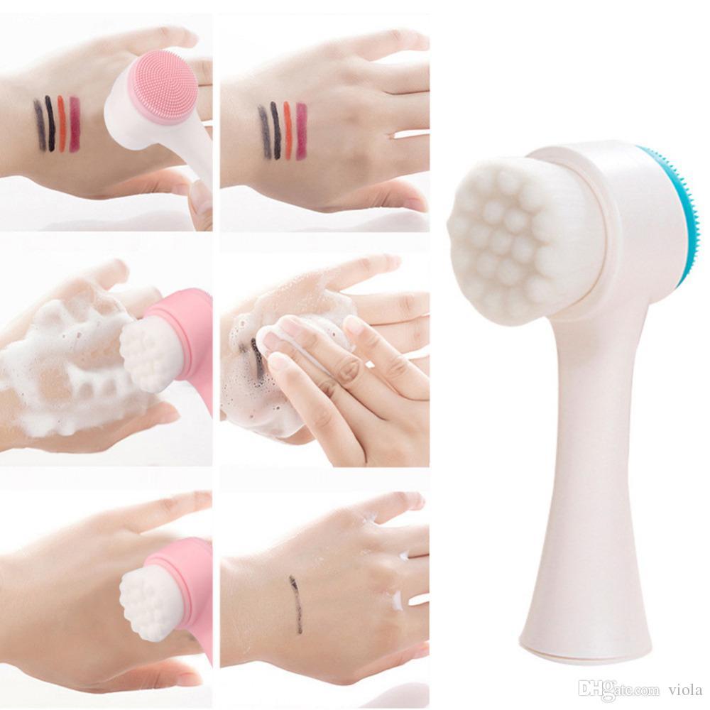 Doppelseiten Multifunktionsgesichtsreinigungsbürste Tragbare Größe Gesichtsreinigungswerkzeug Porenmassagegerät Gesichtsschönheitsbürste kostenloser versand