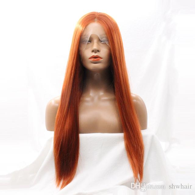Heat Resistant Silky Straight Wigs  350 Orange Color Long Straight  Synthetic Lace Front Wigs With Middle Parting Synthetic Fiber Wig Wig S  From Shwhair ab8fb37f9