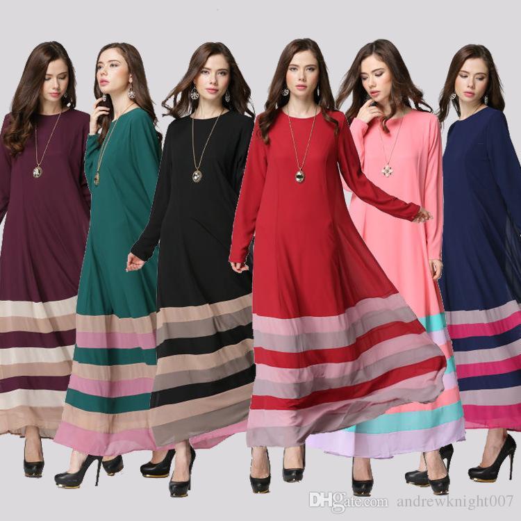 Mulheres Listrado Retro Vintage Vestido Kaftan Abaya Jilbab Muçulmano Islâmico Manga Comprida Maxi Vestido DK728MZ Frete Grátis Dropshipping