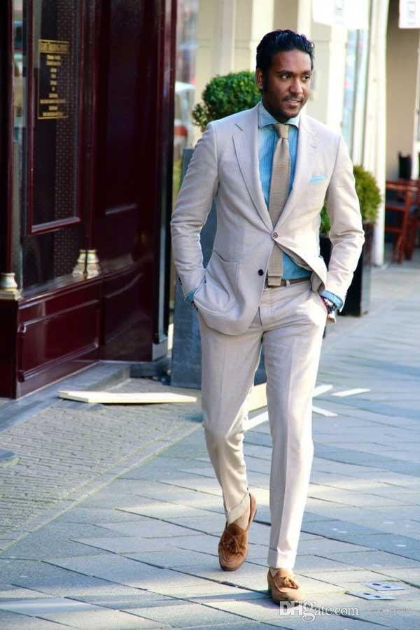 Custom Made 2018 Beige Summer Men Suits Wedding Wear Bridegroom Slim Fit Groom Tuxedos Suits For Man Formal Business Jacket+Pants