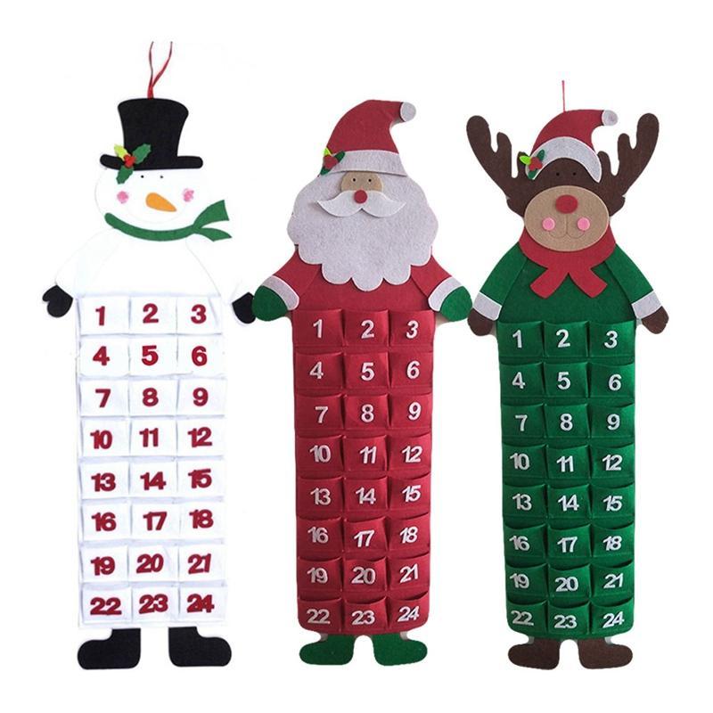 Christmas Advent Calendar with Pockets Santa Claus Snowmen Elk Hanging Xmas  Calendar Door Wall Window Felt Decor Xmas Gift Party