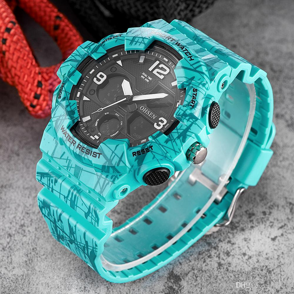 New Arrival Fashion OHSEN Quartz Digital Watch Men 50m Water Resistant Sport Watch Relogios Rubber Band LED Milirtary Wristwatch