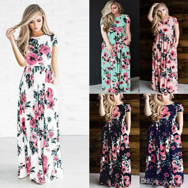 376a629cb89 Plus Size Short Sleeve Summer Autumn Long Dress Floral Printed Fashion Women  Casual Dress Loose Boho Beach Maxi Dress Black Dressed Casual White Lace  Dress ...