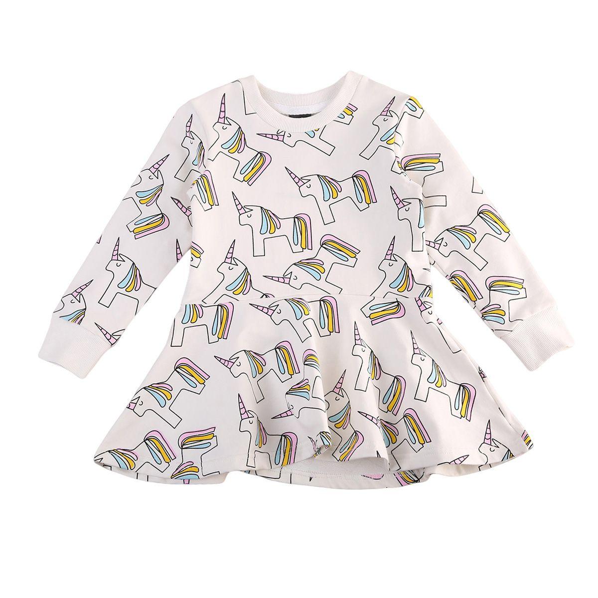 2019 Girls Unicorn Dress Shirts Pants Suits Boys Clothing Set Cotton