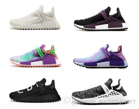 e0b40f8dc 2019 Human Race Pharrell X Hu Trail Blank Canvas White Woman Man Running  Shoes Sports Authentic Sneakers With Original Box From Soccersjersey