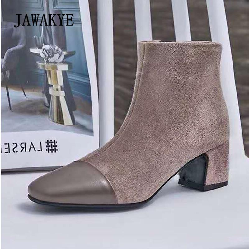 ea0ae2c322ee 2018 Chic Ankle Boots Woman Square Toe Suede Real Leather Patchwork Heel  Boots Women Retro Martin Boots Skechers Boots Mid Calf Boots From  Shoes8800