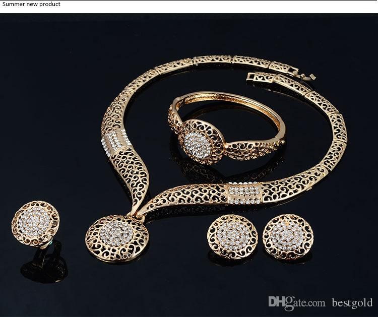 Dubaï luxe t18K plaqué or ensembles de collier de diamants diamant de mode ensembles de bijoux de costume de mariée collier + bracelet + boucles d'oreilles
