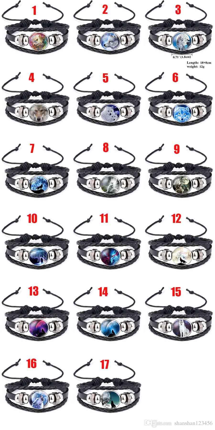 Moon Wolf Howling Handmade Glass Cabochon Woven Leather Bangles Mens Black Cool Punk Animal Bracelet Jewelry Moonlight Gemstone 320054