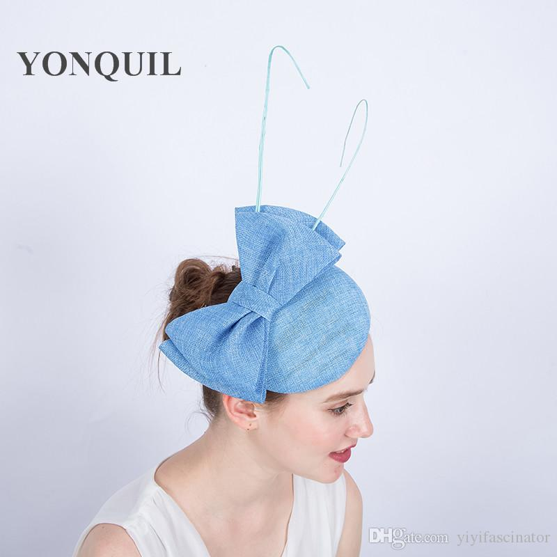 Top Quality Light Blue Women Wedding Fascinator Base Hat With Bow And  Ostrich Quill Imitation Sinamay Party Fascinator Hat Hair Clips SYF127  Wedding Hair ... 88374965d92