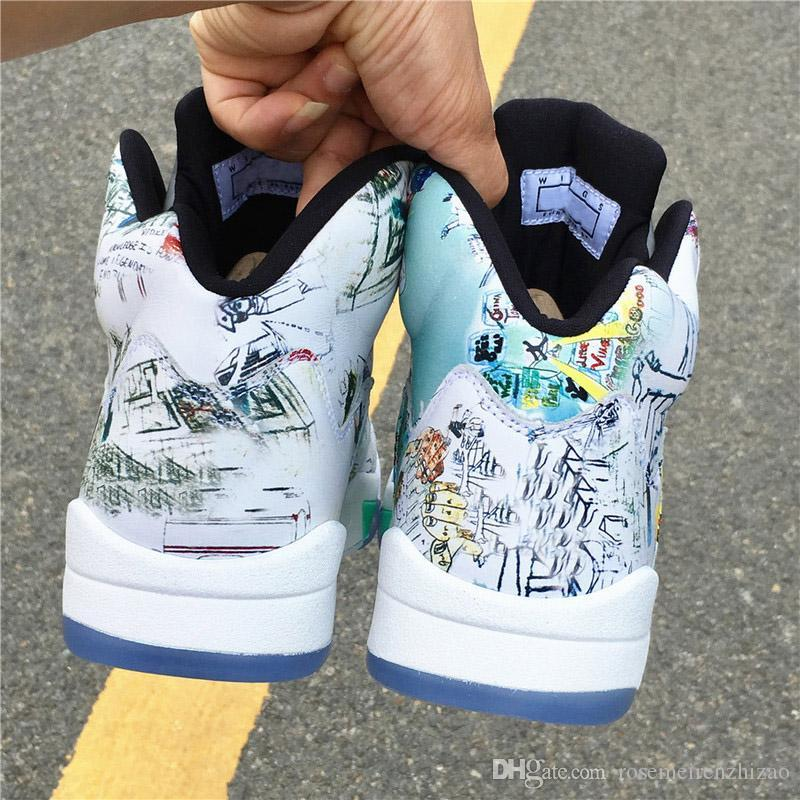 30a44b5ff 2019 Newest 5 Wings Basketball Shoes Leather Graffiti Athletic Glows In The  Dark Top Quality White Green Sneakers For Men Multicolor AV2405 900 From ...