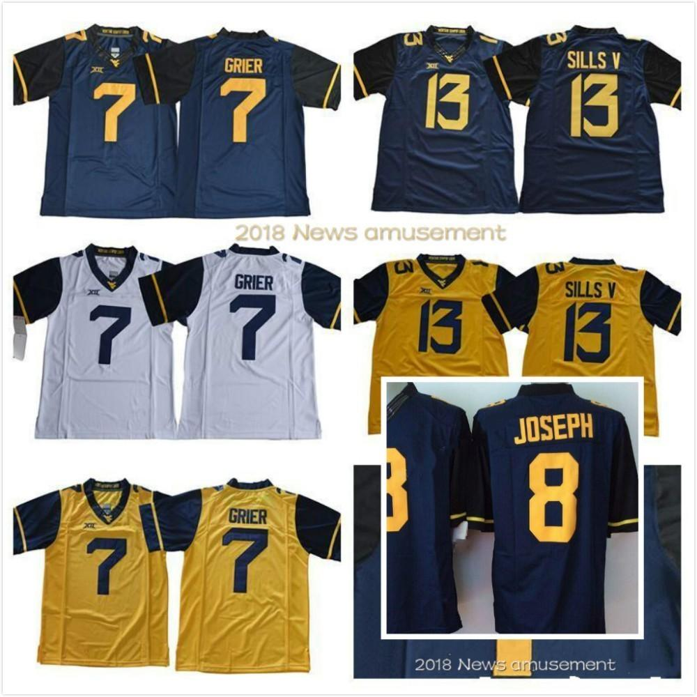 2019 2018 West Virginia Mountaineers 7 Will Grier Jersey 13 David Sills V  NCAA College Men Football Navy Blue Yellow White Stitched XII S 3XL From ... 68273b6f0