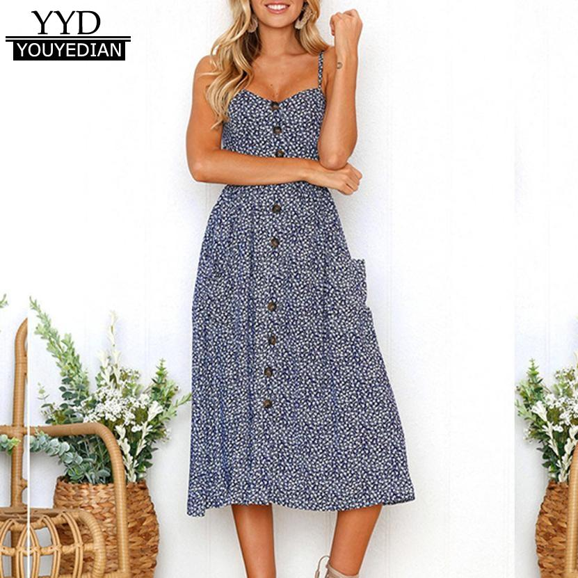 11d279b79e089 2018 Fashion Summer Dresses Women Strappy Sexy Printi Buttons Sleeveless  Dress Mid Pocket Dress For Women vestido mujer *1223