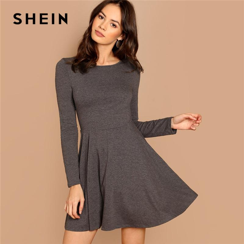 eeed6b1ffe SHEIN Grey Fit And Flare Heathered Knit Dress Casual Long Sleeve Round Neck  A Line Dresses Women Autumn Stretchy Short Dress Cute Red Party Dresses  Sundress ...
