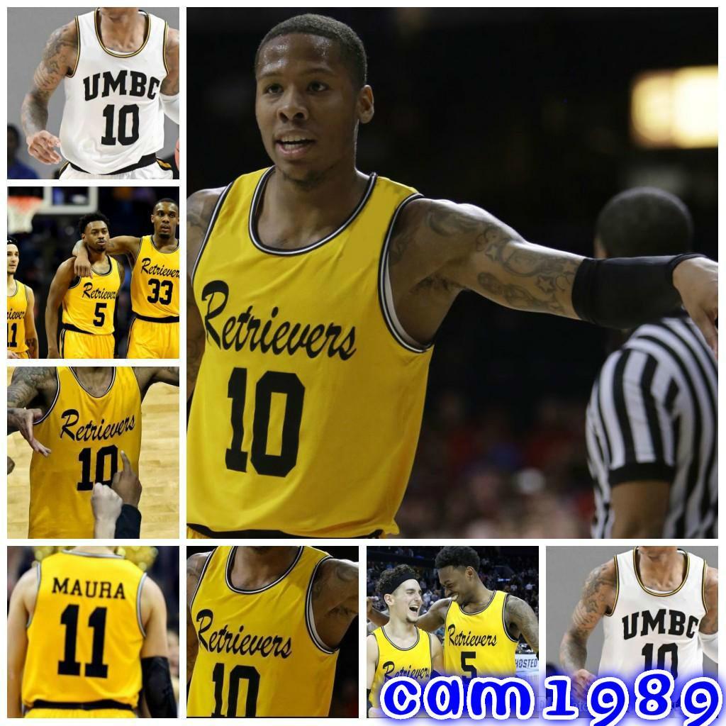 quality design cb057 80f2a NCAA UMBC Retrievers College Basketball Jerseys 10 Jairus Lyles 11  K.J.Maura 3 Arkel Lamar Custom Any Name Any Number Stitched