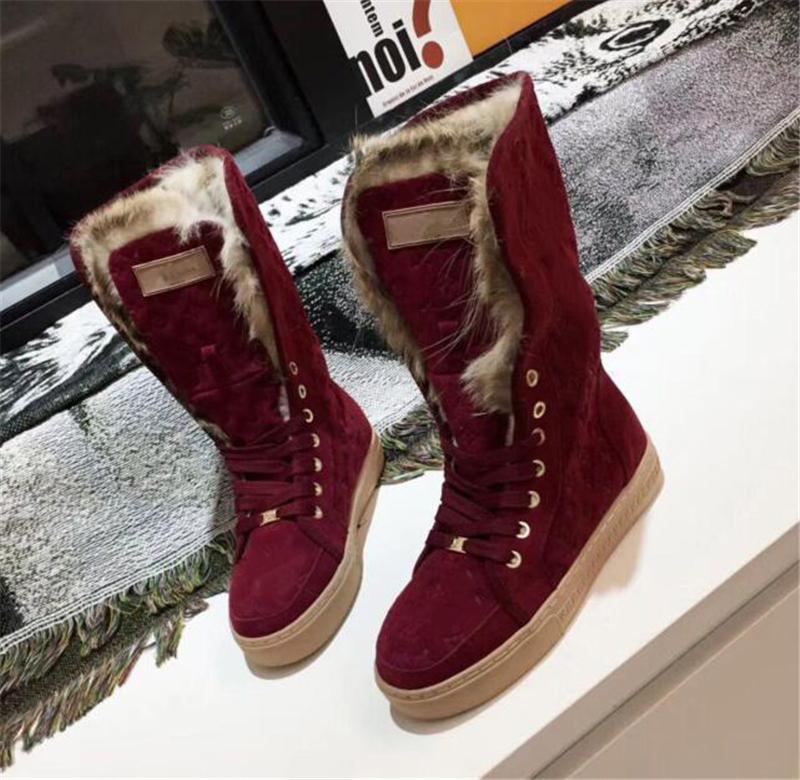 2018 marcas de lujo botas de nieve peludas de gamuza de piel bota de nieve para jóvenes Cálido antideslizante Esquí de invierno Corte alto por debajo