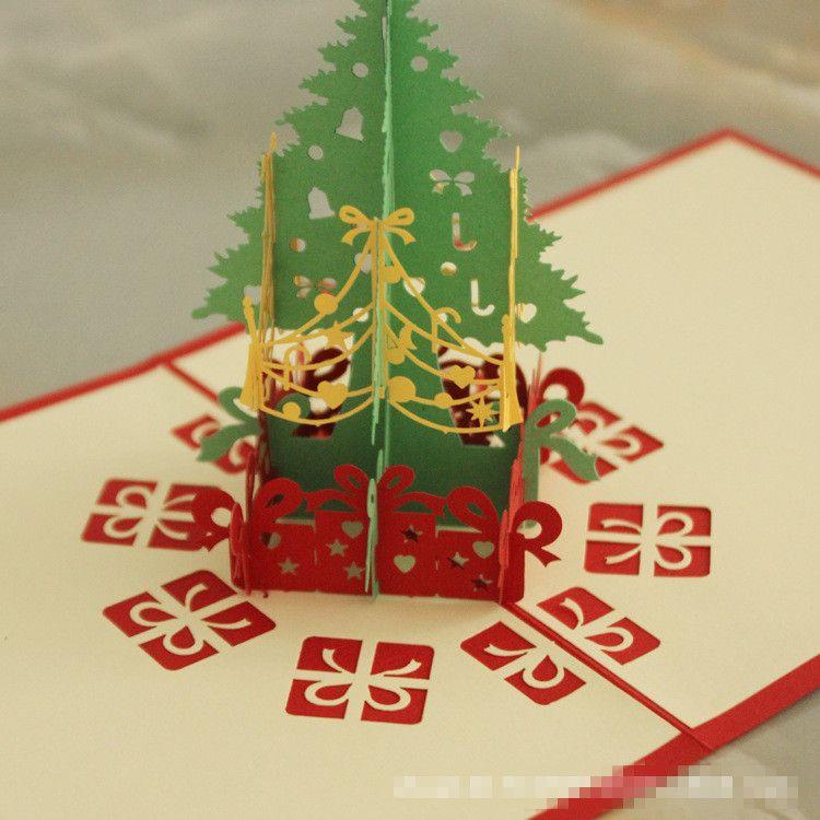 3D Christmas Cards Xmas Greeting Cards Creative DIY Hollow Out Handmade Paper Christmas Tree Santa Claus Card Factory Cheap Hot Sale B47