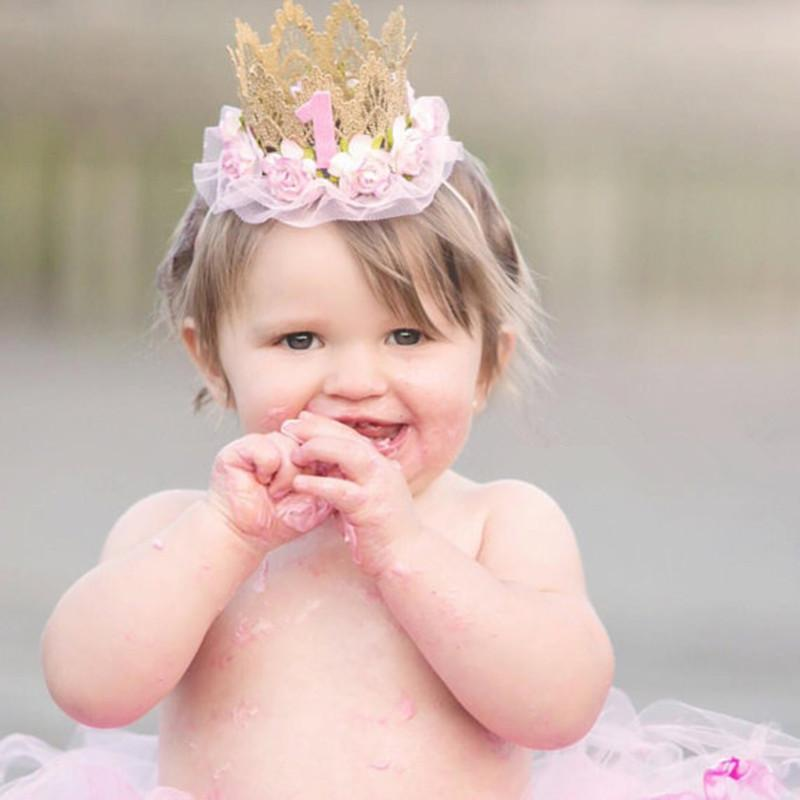 Baby First Birthday Hat Girl Princess Crown 1 Years Old Party Glitter Headband Newborn Photography Props Hats Caps Cheap