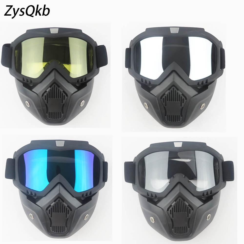 076d9a16f0 Ski Bike Motorcycle Face Mask Goggles Motocross Motorbike Motor Open Face  Detachable Goggle Helmets Vintage Glasses Universal Motorcycle Polarized ...