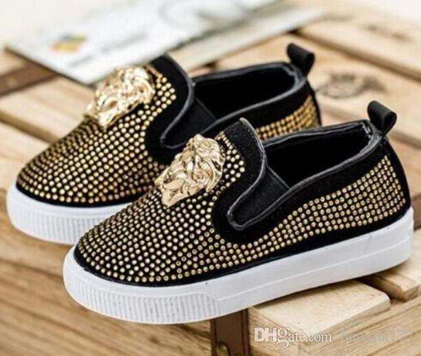 2018 New brand European Spring Kids Children's Baby Rhinestones Sneakers Causal Shoes Metal Head Boys Girls Children Shoes