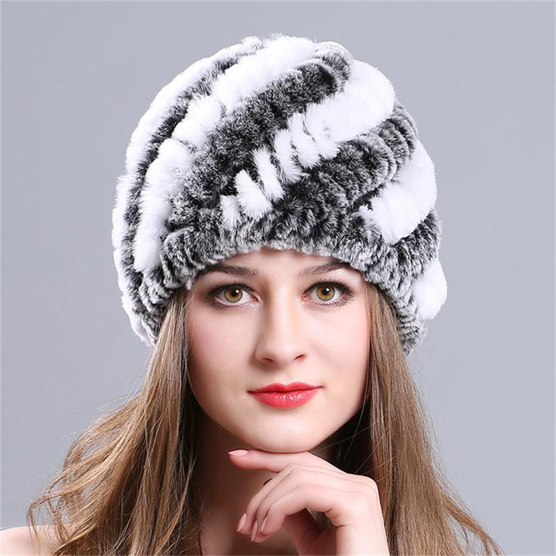 ac2ca00d680c4 IMucci Rabbit Fur Hats Fashion Womens Real Rex With Stripe Design Cute  Ladies Winter Warm Rabbit Fur Caps S1020 Slouch Beanie Ski Hats From  Ruiqi08
