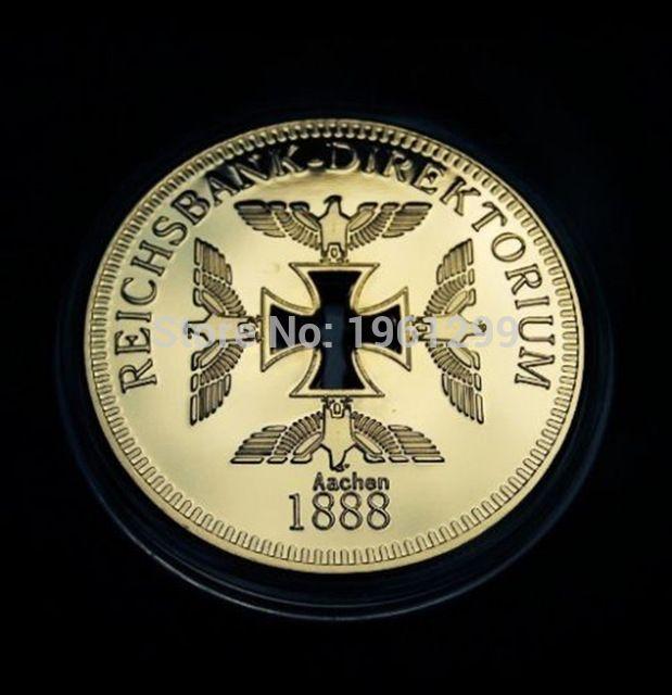 [Hot Sale] Free Shipping 5Pcs/Lot 999/1000 Gold Clad Reichsbank Aachen 1888  Souvenir Coin,Germany Hollow Iron Cross Coin