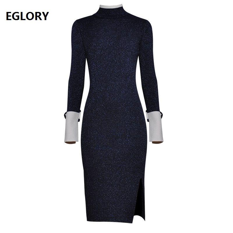 a007b8f9042 2019 Best Quality Women Knitted Dress 2018 Autumn Winter Long Pullovers  Ladies Turtleneck Lurex Yarn Knitting Long Sweater Dress OL From Ingridea